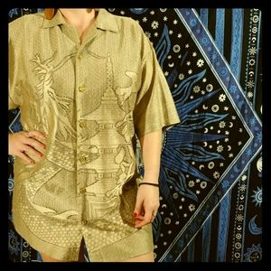 Vintage Gold Dragon & Pagoda Button Up
